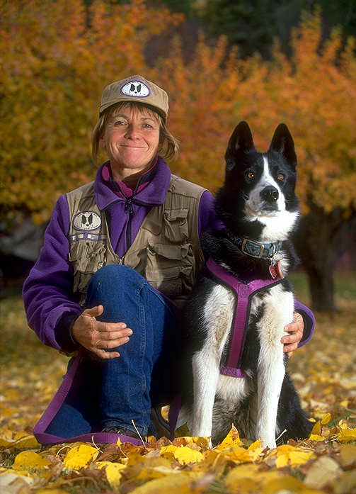 Carrie Hunt with a bear dog