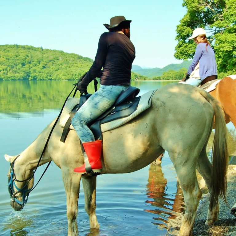 Horse trekking around Lake Kussharo